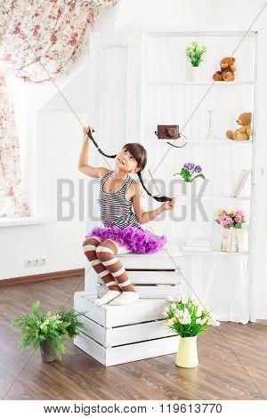 Girl dressed as Pippi Longstocking