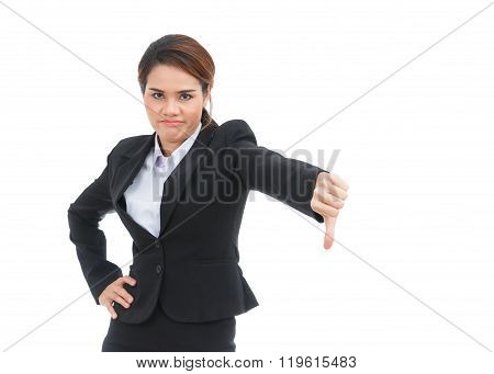 Asian Business Woman With Thumb Down Isolated On White Background