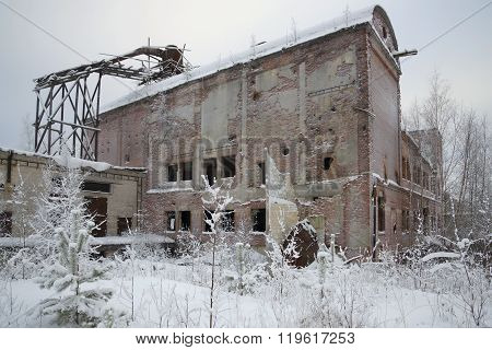 Abandoned buildings at the pulp mill in the village Charlo. Karelia