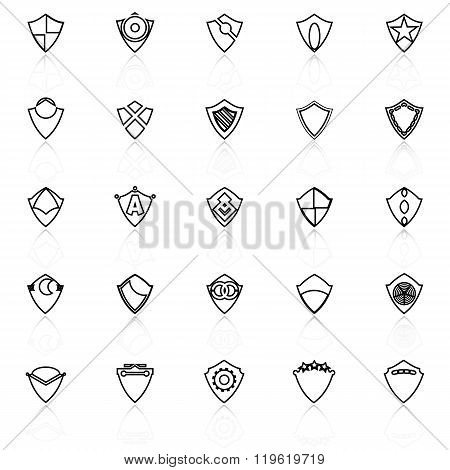 Design Shield Line Icons With Reflect On White Background