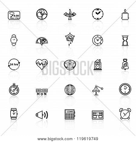 Design Time Line Icons With Reflect On White Background