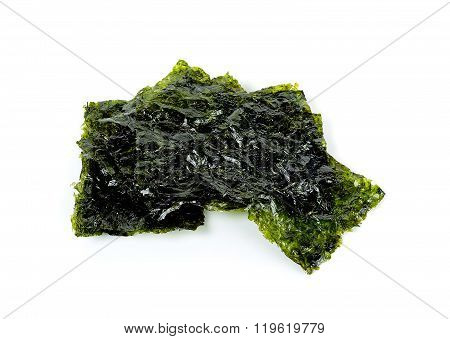 Dried Seaweed Isolated On The White Background