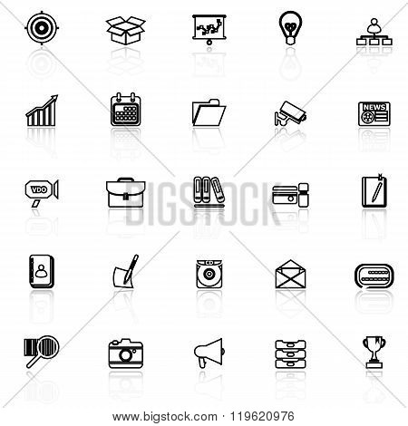 Data And Information Line Icons With Reflect On White Background