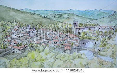 Ink and Watercolour painting of Lagrasse Languedoc - Roussillon France