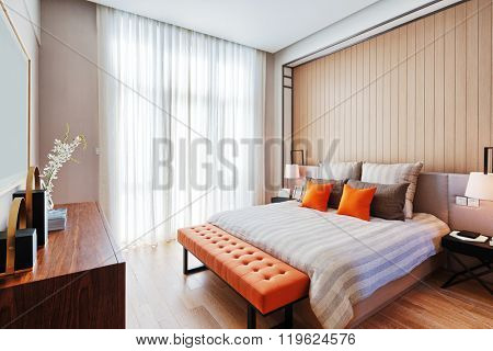 decoration and furniture in modern bedroom