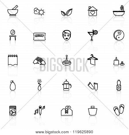 Massage Line Icons With Reflect On White