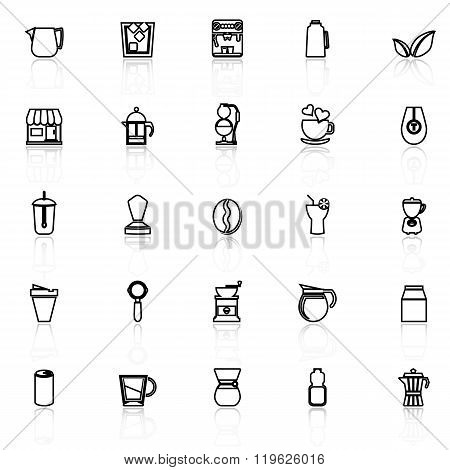 Coffee And Tea Line Icons With Reflect On White