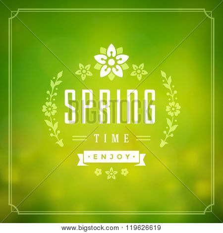 Spring Vector Typographic Poster or Greeting Card Design.