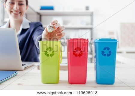 Waste separate collection and recycling in the workplace office worker sorting garbage using different trash bins poster
