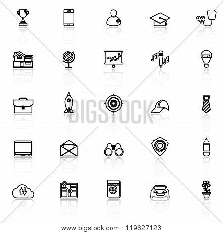 Job Description Line Icons With Reflect On White
