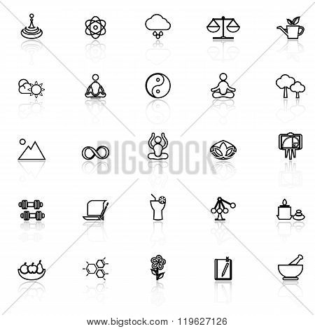Zen Concept Line Icons With Reflect On White