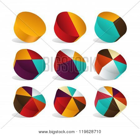 Perspective Pie Chart Slice Area. Infographic Pie. Vector Illustration.