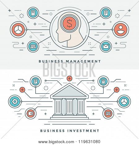 Flat line Investment and Business Management Concept Vector illustration.