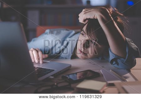 Sleepy Woman Working With Her Laptop