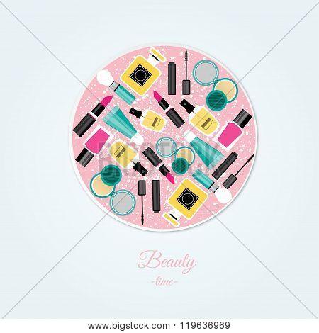 Vector Flat Design Of Make Up Tools. Vector Flat Design Of Make Up Collection.Make Up Elem