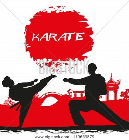 Karate Occupations - Grunge Background