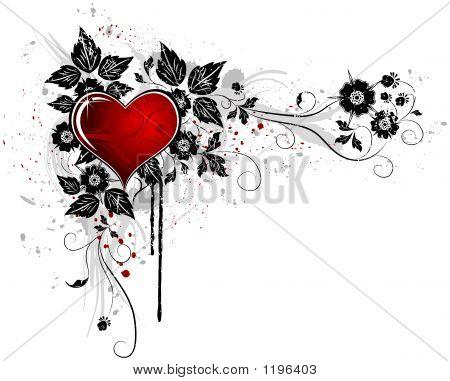 grunge painted floral frame with blob for valentine's day elements for design vector illustration poster
