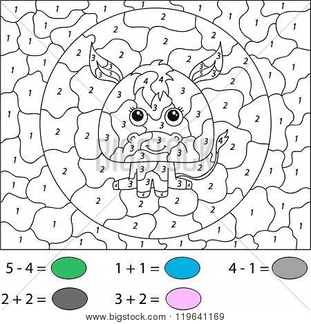 Cartoon Donkey. Color By Number Educational Game For Kids