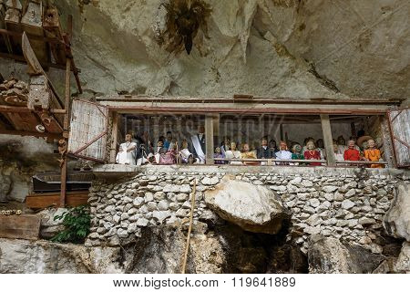 Galleries Of Tau-tau On Balcony In Londa. Tana Toraja, South Sulawesi, Indonesia