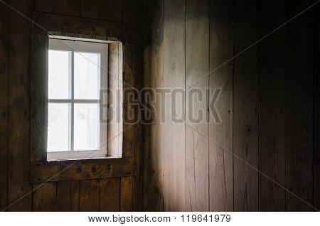 Soft Natural Window Light on Barn Board Interior.