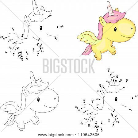 Cartoon Unicorn. Coloring Book And Dot To Dot Game For Kids