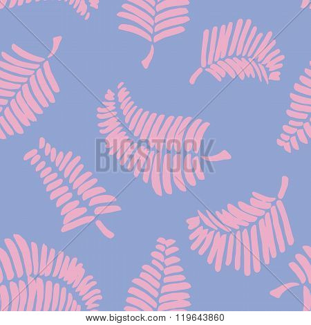 Vector seamless pattern with leaves. Serenity Seamless pattern with rose quarz feathers.