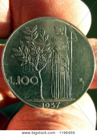 100 lira italian coin showing goddess minerva next to an olive tree poster