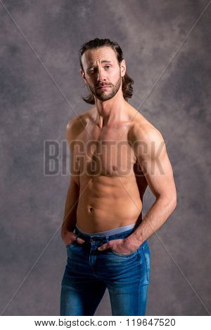 Young White Man Exercised Body Looking Amazed