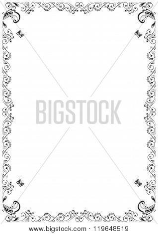 Floral Vector frame A4 design elements