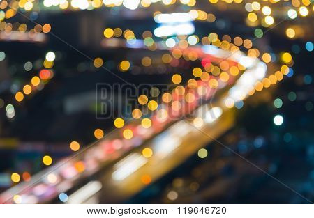 Blurred bokeh city highway road curved night view