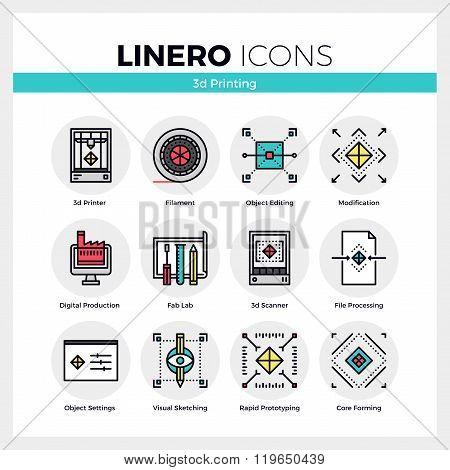 3D Printing Linero Icons Set