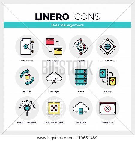 Data Management Linero Icons Set