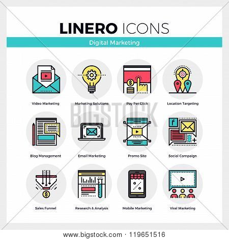 Digital Marketing Linero Icons Set