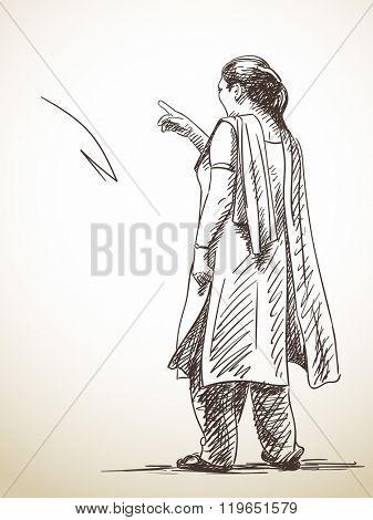 Sketch of standing woman in salwar kameez, Hand drawn illustration