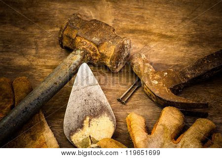 Set image with dirty tools on hard work