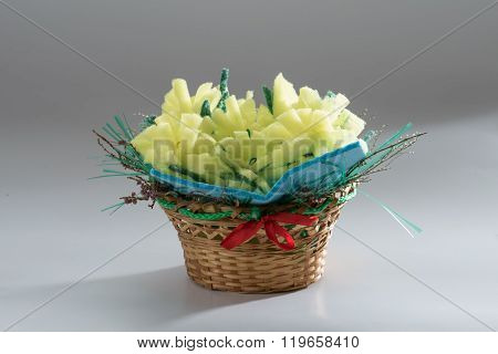 Basket With Flowers Made Of Colored Foam