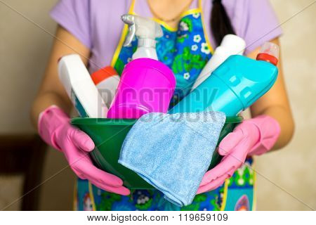 Household chemicals. The means for cleaning the house