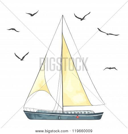 Boat with sails and seagulls made in the vector