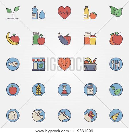 Vegetarian and healthy eating icons - vector set of colorful vegan food signs. Vegetarian flat symbols for your design poster