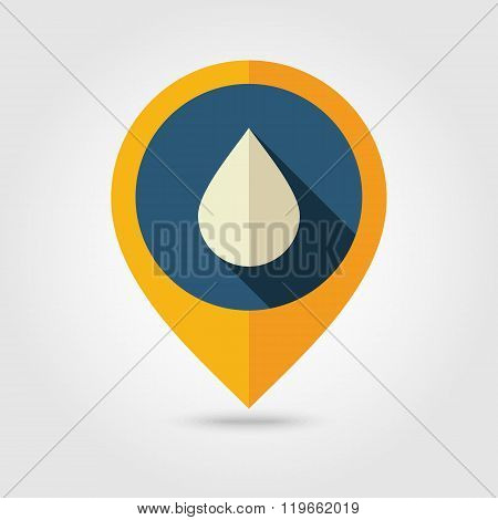 Water Rain Drop flat pin map icon. Weather