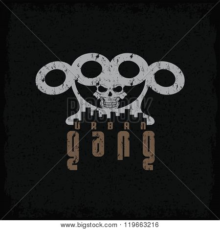 Urban Gang Grunge Emblem With Brass Knuckles And Skull