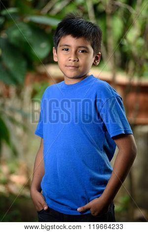 Latino Boy With Hands  In Pocket