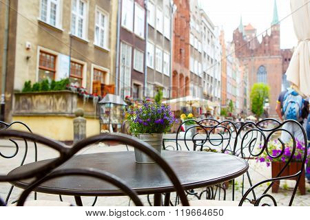 Cozy outdoor cafe in Prague, Czech republic. Beautiful  city