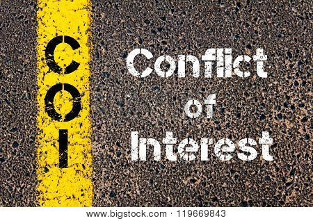 Concept image of Business Acronym COI conflict of interest written over road marking yellow paint line poster