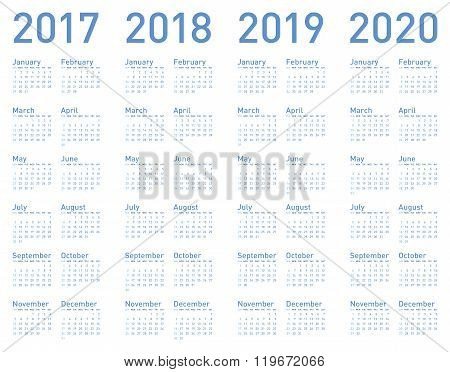 Simple Blue Calendar For Years 2017, 2018, 2019 And 2020, In Vector Format.