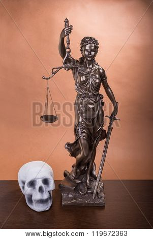 human scull scales of justice