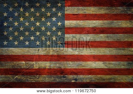American Flag On Grunge Wooden Background