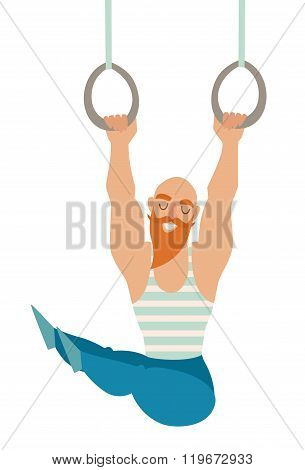 Gymnastics rings. Bearded mustache bald man with muscles hanging on the rings.