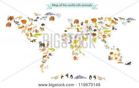 World mammal map silhouettes