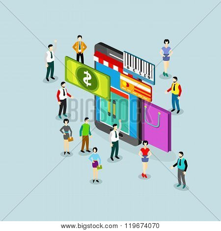 Isometric sale illustration with phone and people